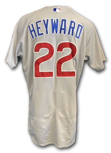 Photo of Jason Heyward Game-Used Jersey -- Cubs at White Sox -- 9/22/18; Also Worn Opening Day 2018 -- Cubs at Marlins -- 3/29/18 -- Heyward 1 Hit, 1 Run, 1 RBI