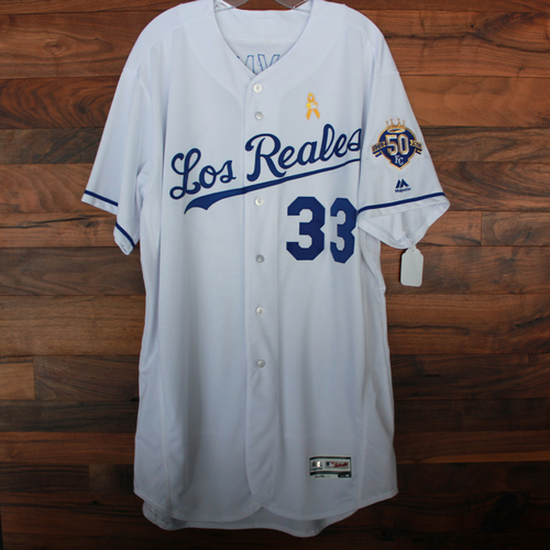 Photo of Game-Used Los Reales Jersey: Brian Flynn (Size 50 - BAL @ KC - 9/1/18)