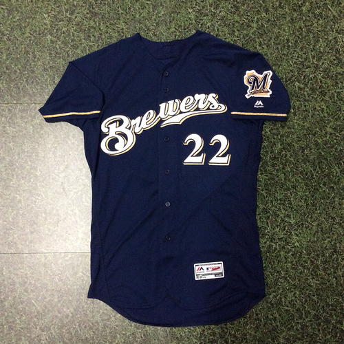 Photo of Christian Yelich 2018 Game-Used Navy Alternate Jersey (09/25/18: 2-6, 3B, HR, 6 RBI; 09/26/18: 0-0, 5 BB, 2 R, Brewers Clinch Postseason Berth)