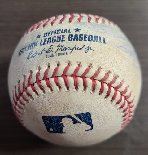 Photo of Authenticated Game Used Baseball: Foul by Miguel Andujar against Shun Yamaguchi (Sep 8, 20 vs NYY). Top 6. Game played in Buffalo.