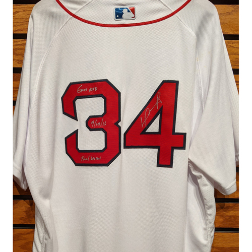 David Ortiz #34 Autographed Game Used Home White Jersey