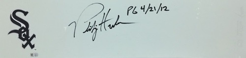 "Photo of Phil Humber ""PG 4/21/12"" Autographed Pitching Rubber"