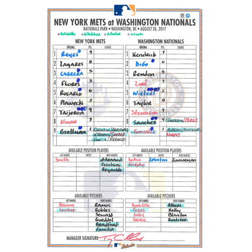 Photo of Game Used Lineup Card - Travis Taijeron Makes MLB Debut, Flores Goes 4-4 with 3 RBI - Mets vs. Nationals - 8/26/17