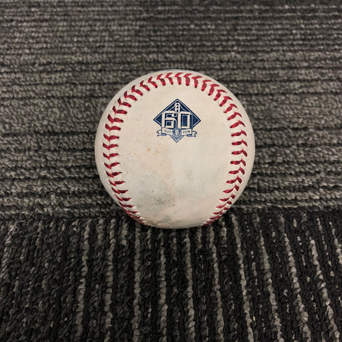 Photo of 2018 San Francisco Giants Game Used Baseball - SF vs. ATL on 9/11/18 - T-8: Ray Black to Ronald Acuna Jr. - Pitch in the Dirt - Ronald Acuna Jr. 2018 National League Rookie of the Year