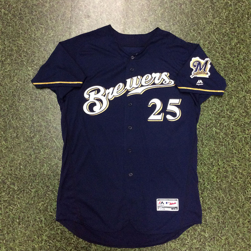 Photo of Ji-Man Choi 2018 Game-Used Navy Alternate Jersey (5/18 - 1st HR of 2018)