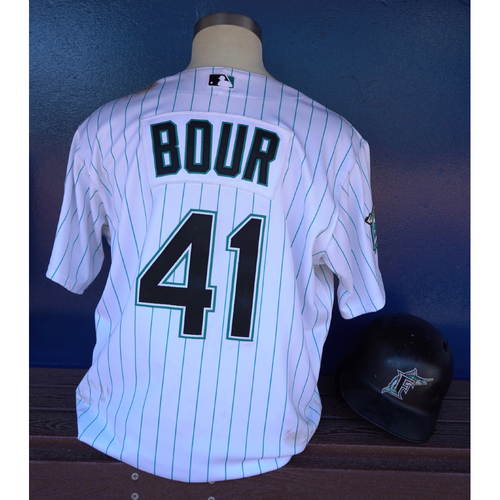 Photo of Game-Used Jersey & Helmet: Justin Bour (Marlins 25th Anniversary Weekend 6/8/18-6/10/18) - Jersey Size: 50, Helmet Size: 7 5/8 (Helmet only worn on 6/9-6/10)