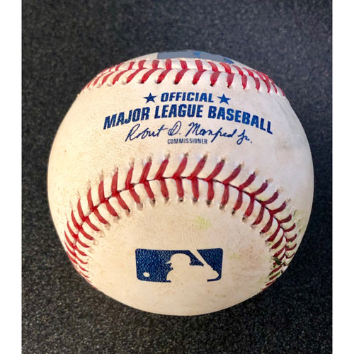Photo of Game Used Baseball: Pitcher: Trevor Cahill, Batter: Mitch Haniger (Double) - LAA @ SEA  4-2-2019