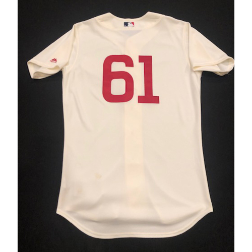Photo of Jeff Pickler -- Game-Used 1936 Throwback Jersey -- Cubs vs. Reds on June 30, 2019 -- Jersey Size 42