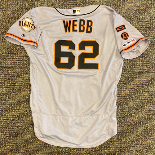 Photo of 2019 Game Used Road Alt Jersey worn by #62 Logan Webb on 9/22 @ ATL - Starting Pitcher - 6.0 IP, 7 K's, 1 ER, CAREER WIN #2 - Size 48