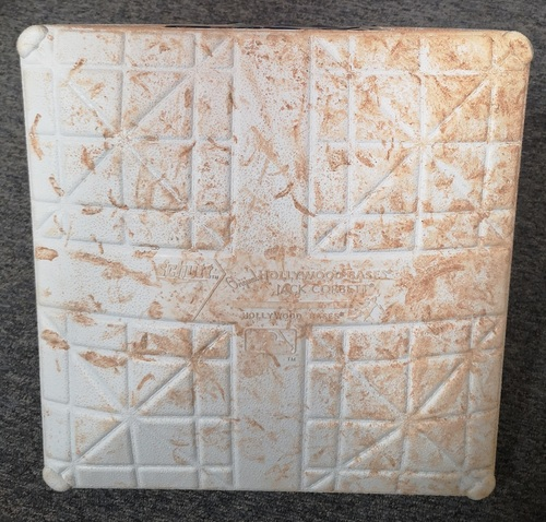 Photo of Authenticated Game Used Base - 1st Base for Innings 1 to 3 (Aug 8, 19 vs NYY). 1st Time Bichette, Biggio and Guerrero Jr. took the field together at home for an MLB Regular Season Game.
