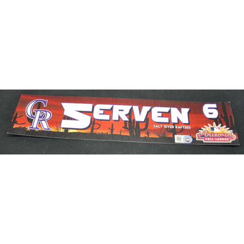 Photo of Arizona Fall League - Game-Used Locker Tag - Brian Serven (COL), Jersey Number: 6
