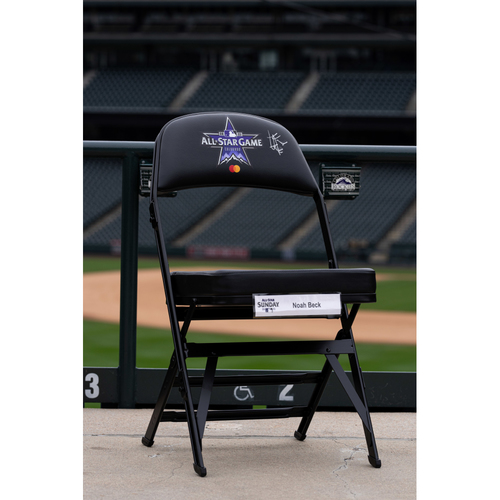 Photo of 2021 Celebrity Softball Game Autographed On Field Chair - Noah Beck