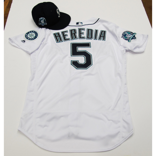 Photo of Guillermo Heredia White Home Team-Issued Jersey & Game-Used Cap With Edgar Martinez Patch 8-12-2017 - Sizes: Jersey - 46, Cap 7 1/8