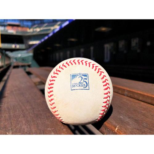 Photo of Colorado Rockies Game-Used Baseball - Shaw v. Bautista - RBI Single to Gonzalez - June 19, 2018