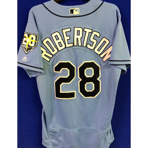 Photo of 20th Anniversary Game Used Columbia Jersey: Daniel Robertson (1-1, 4RBI, R) - First Pitch-Hit Walk-Off Grand Slam in Rays History - July 22, 2018 vs. MIA