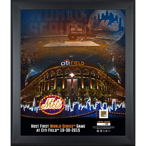 "Photo of New York Mets 2015 MLB World Series Framed 20"" x 24"" First World Series Game at Citi Field Collage with a Piece of World Series Game 3 Dirt"