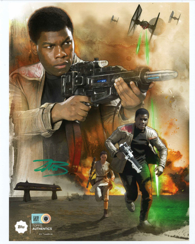 John Boyega as Resistance Hero Finn 8x10 Autographed in Green Ink Photo Collage