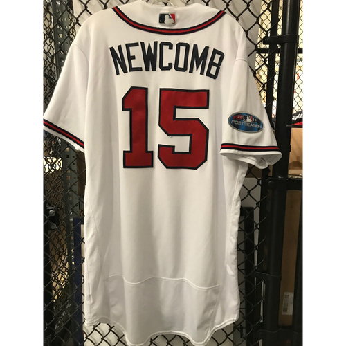 Photo of Sean Newcomb Game-Used 2018 NLDS Jersey - Worn 10/7/18 - First Postseason Game at SunTrust Park