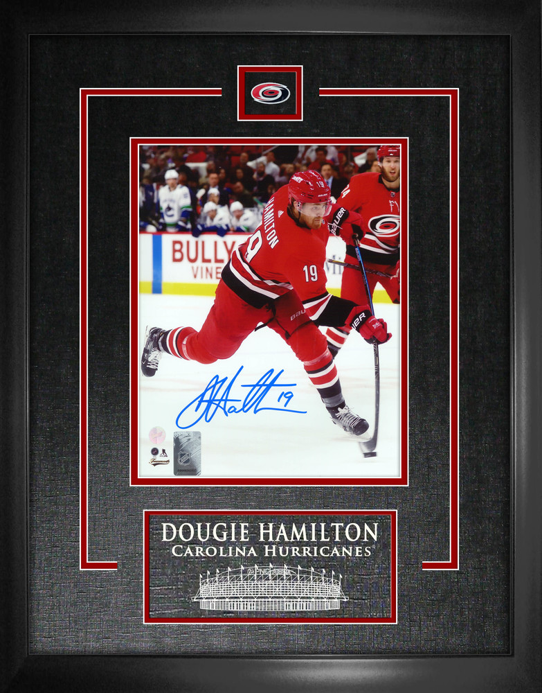 Dougie Hamilton Signed 8x10 Etched Mat Hurricanes Shooting