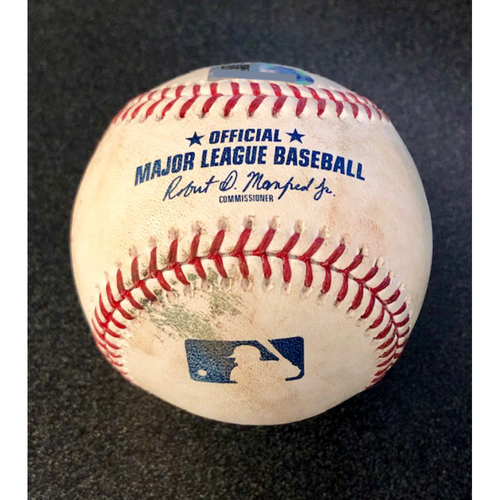 Photo of Game Used Baseball: Pitcher: Trevor Cahill, Batter: Dee Gordon (Double) - LAA @ SEA  4-2-2019