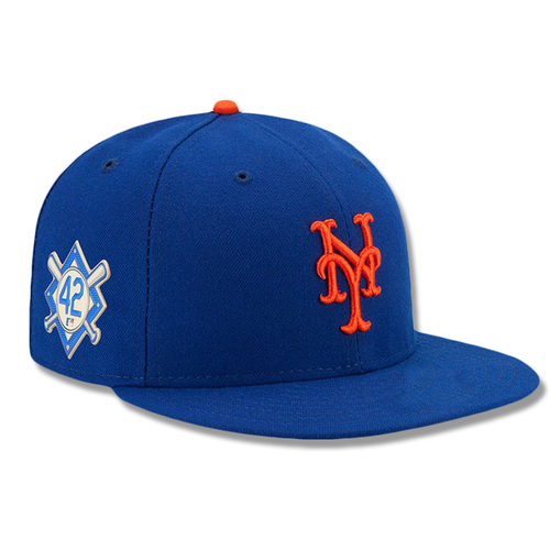 Photo of Luis Rojas #60 - Game Used Jackie Robinson #42 Hat - Mets vs. Phillies - 4/15/19