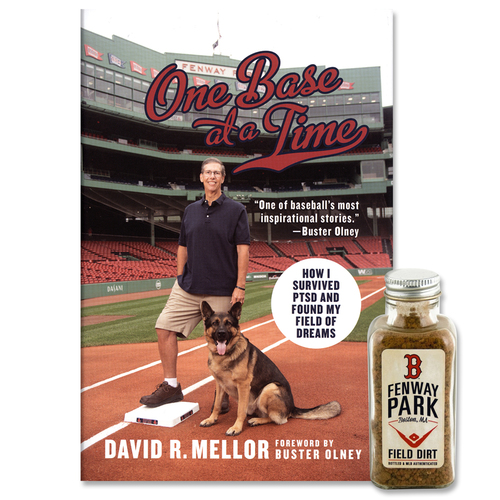 Photo of Dave Mellor One Base at a Time Book and Game-Used Fenway Park Dirt Bottle