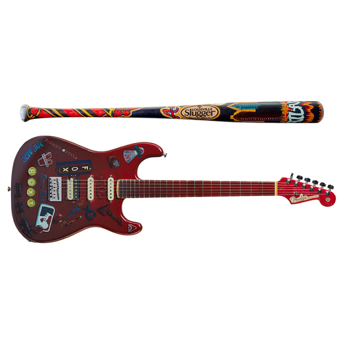 One-of-a-kind Artist-Painted Braves Louisville Slugger Bat and Fender Stratocaster Guitar