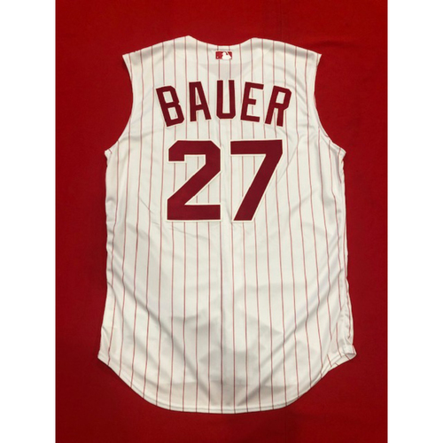 Photo of Trevor Bauer -- Team-Issued 1995 Throwback Jersey -- D-backs vs. Reds on Sept. 8, 2019 -- Jersey Size 46