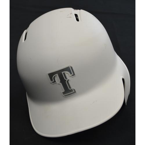 "Photo of Jeff ""MATTY"" Mathis Texas Rangers Game-Used 2019 Players' Weekend Helmet"