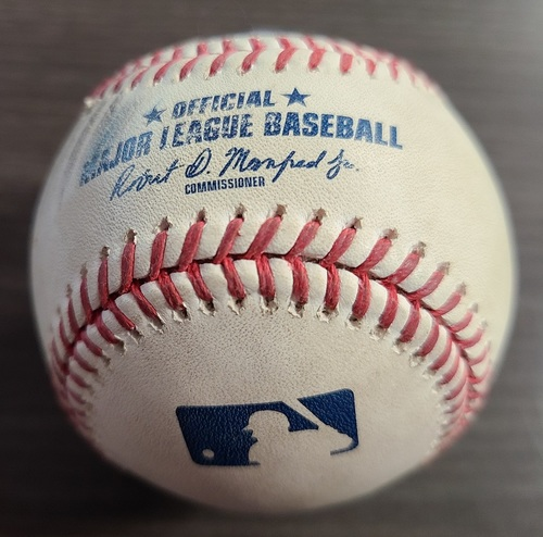 Photo of Authenticated Game Used Baseball: Foul by Derek Fisher against Deivi Garcia (Sep 9, 20 vs NYY). Bottom 2. Game played in Buffalo. Roberto Clemente Day. Garcia recorded 1st MLB Win in Game.