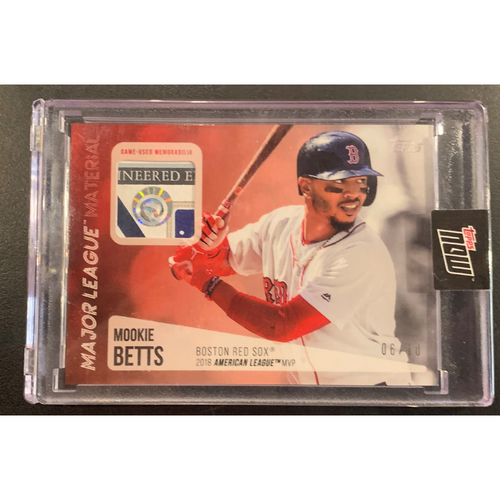 Photo of Mookie Betts Topps Now Major League Material Game Used Jersey Card #6/10