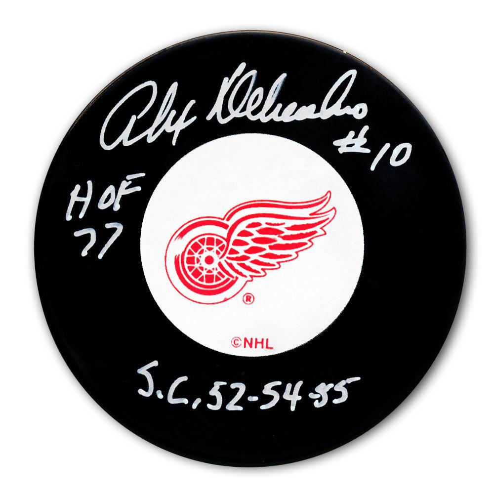 Alex Delvecchio Detroit Red Wings HOF Cup Years Autographed Puck