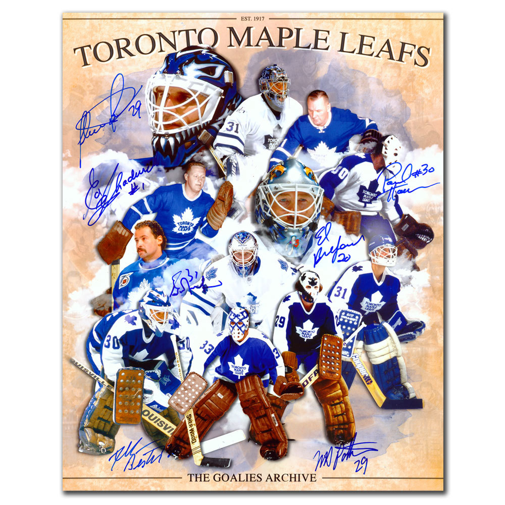 Toronto Maple Leafs All-Time Goalie Greats Autographed 8x10 Signed by 7