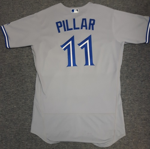 Photo of Authenticated Game Used Jersey - #11 Kevin Pillar (April 6, 2017). Pillar went 1-for-4. Size 44
