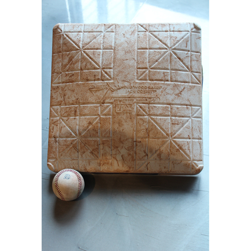 Photo of Game-Used 2nd Base & Baseball: Jose Altuve 261st Career Double, 439th and 440th Career RBI, and Alex Bregman 280th Career Hit (Innings 1-5 - HOU at KC - 6/16/18)
