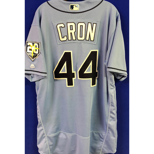 Photo of 20th Anniversary Game Used Columbia Jersey: C.J. Cron (1-3, 2 R) - 500th Career Game - July 22, 2018 vs. MIA