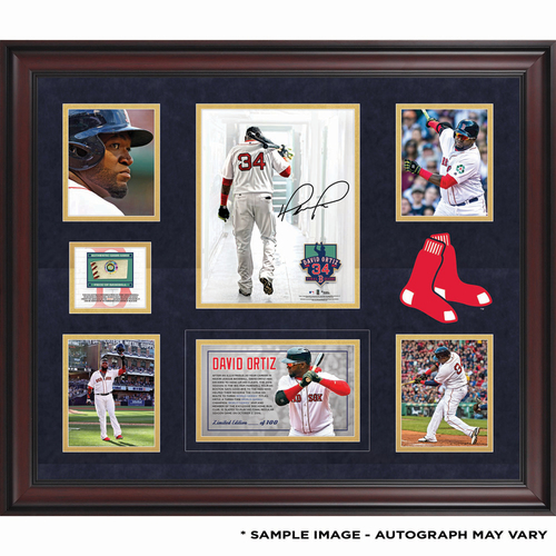 Photo of David Ortiz Boston Red Sox Framed Autographed Walking out of Tunnel 5-Photo Collage with a Piece of 2016 Season Game-Used Baseball