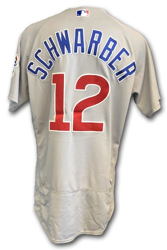 Photo of Kyle Schwarber Game-Used Jersey -- Cubs at White Sox -- 9/22/18 -- Schwarber 2 Hits, 1 Walk; Also Worn Opening Day 2018 -- Cubs at Marlins -- 3/29/18 -- Schwarber 1st HR of Season