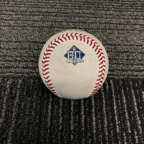Photo of 2018 San Francisco Giants Game Used Baseball - SF vs. ATL on 9/12/18 - T-1: Derek Holland Picks off Ronald Acuna Jr. at 1st Base - Ronald Acuna Jr. 2018 National League Rookie of the Year