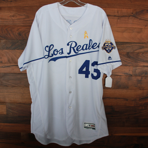 Photo of Game-Used Los Reales Jersey: Wily Peralta (Size 50 - BAL @ KC - 9/1/18)