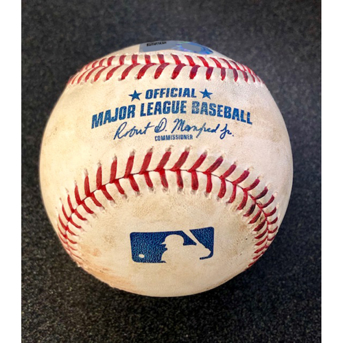 Photo of Game Used Baseball: Pitcher: Justin Verlander, Batters: Daniel Vogelbach (Strikeout), Tim Beckham - 4-13-2019 vs. HOU