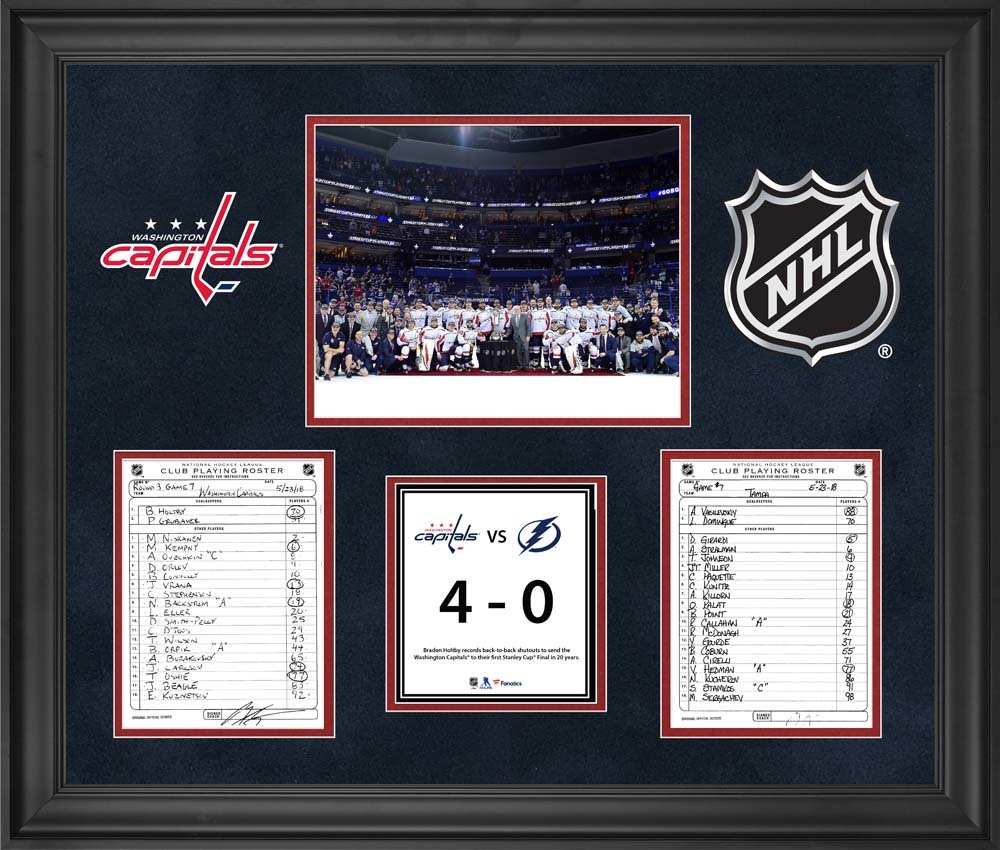 Washington Capitals Framed Original Line-Up Cards from Game 7 of the 2018 Eastern Conference Final on May 23, 2018 vs. Tampa Bay Lightning - Braden Holtby 2nd Consecutive Shutout to Clinch Stanley Cup Final Berth