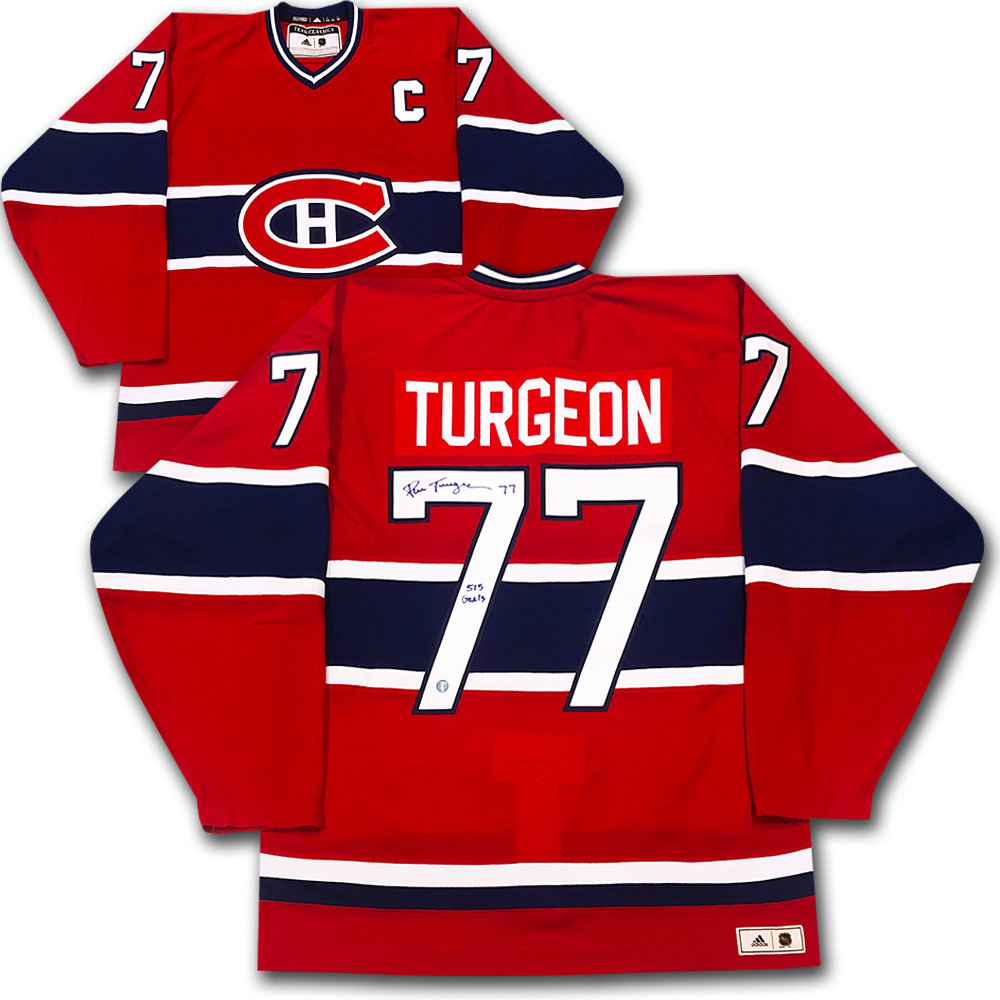 Pierre Turgeon Autographed Montreal Canadiens adidas Team Classics Authentic Vintage Jersey w/515 GOALS Inscription