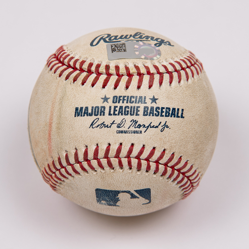 Photo of Game-Used Baseball: Pitcher: Martin Perez, Batter: Mike Trout (Double) - Bot 3 - 5/23/19 vs. MIN