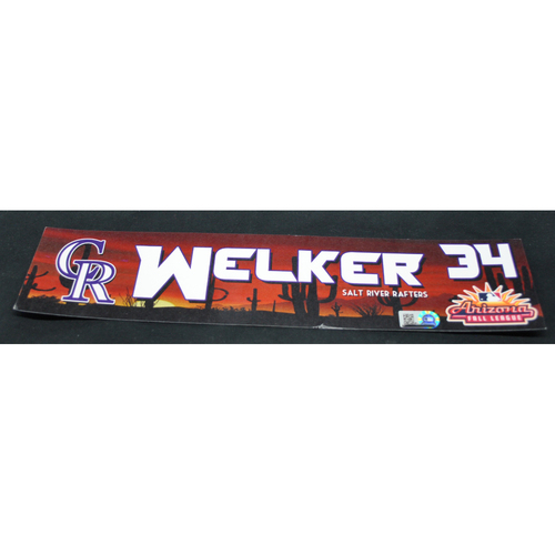 Photo of Arizona Fall League - Game-Used Locker Tag - Colton Welker (COL), Jersey Number: 34
