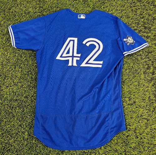 Photo of CHARITY AUCTION: Authenticated Game Used #42 Jersey: Travis Shaw (Aug 28, 20: 1-for-4). Size 46.