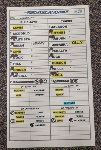 Photo of Authenticated Game Used Lineup Card (August 29, 2010 vs DET): Ryan Raburn had 2 HRs and 4 RBIs