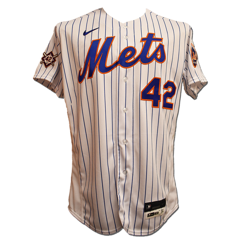 Photo of Jacob deGrom #48 - Game Used Jackie Robinson Day Jersey and Hat - 9 IP, Career High 15 K's, 0 ER, Earns 2nd Win, Sets MLB Record for Most K's in First 4 Starts; 2-4, RBI, 2 Runs Scored - Mets vs. Nationals - 4/23/21