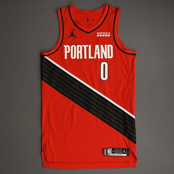 Image of Damian Lillard - Portland Trail Blazers - Game-Worn Statement Edition Jersey - Recorded a 34 Point Double-Double - 2021 NBA Playoffs