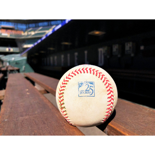 Photo of Colorado Rockies Game-Used Baseball - Shaw v. Plawecki - Double (5) to Gonzalez - June 19, 2018